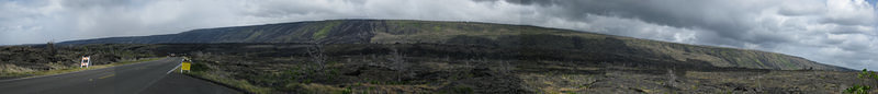 Volcano National Park Panoramic - Lava Flows - Cropped