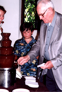 Dillon and Grandpa Scully at the Chocolate Fountain