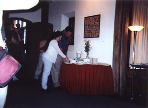 Jen and Neil Cutting the Cake 2