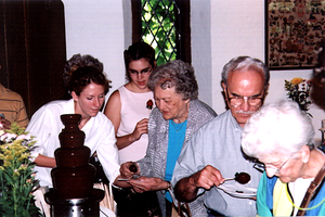 Susie, Grandma Scully, Pa, and Billy at the Chocolate Fountain