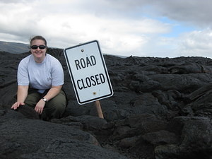 Jen & Road Closed Sign