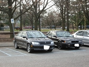 Here's my Lancer next to Brad's (Flybyevo's) Galant VR-4.  Such a pretty car...