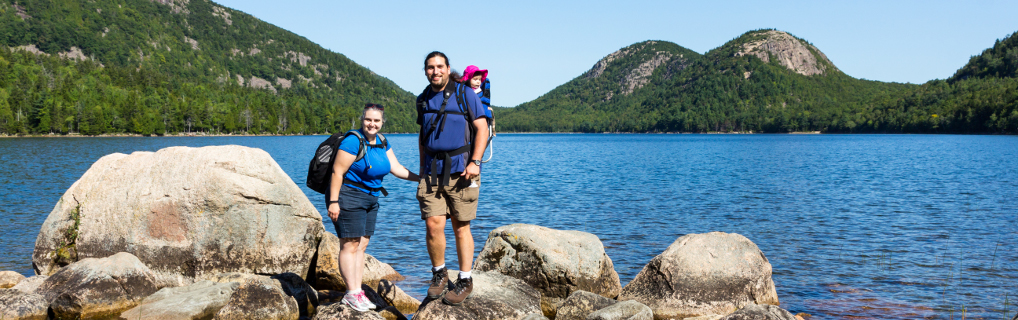 First National Park Trip for Aeryn, hiking around the Jordan Pond.